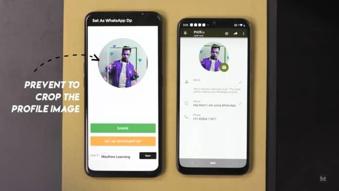 no crop for WhatsApp DP app