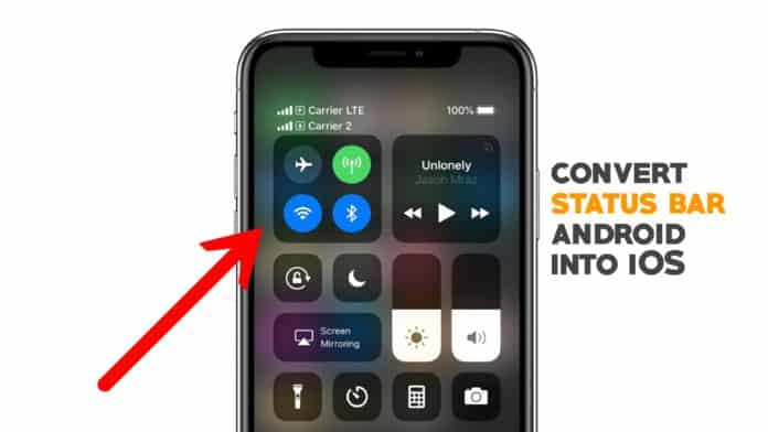 Convert status bar android into iOS
