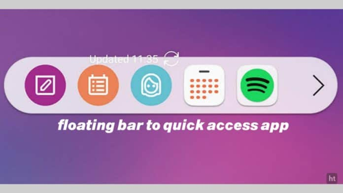 floating bar for quickly access