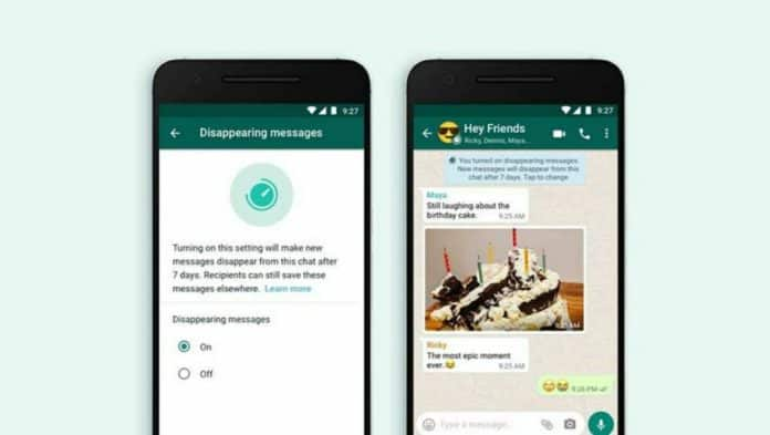 WhatsApp disappearing feature