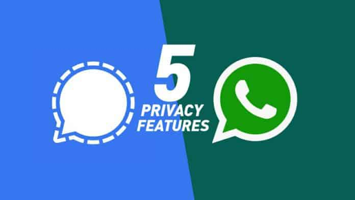 WhatsApp and Signal five privacy features