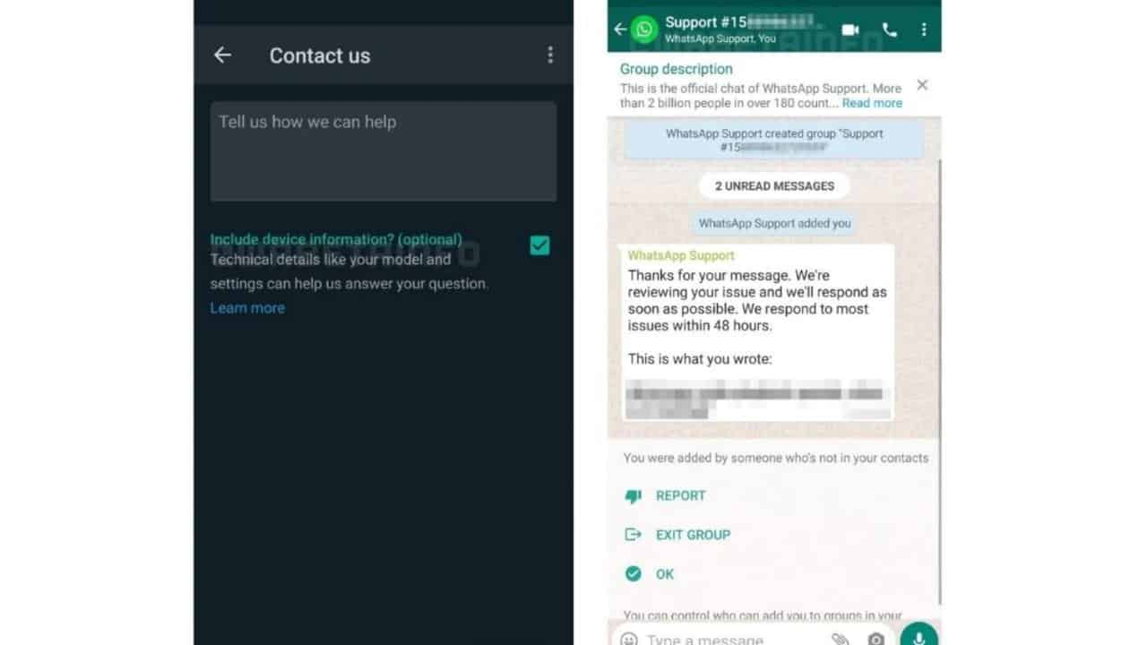 Whatsapp in chat support